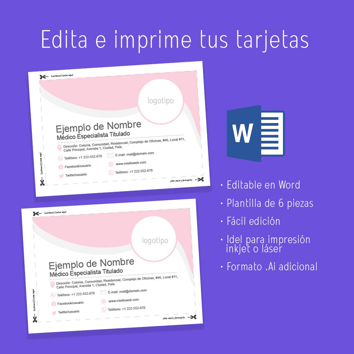 Business card Medical, tarjetas de presentación, plantilla en Word, editable descargar