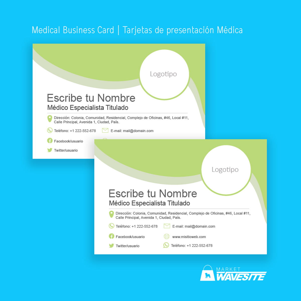 Tarjetas de presentación/Business card Medical plantilla Word y Adobe Illustrator para Descargar