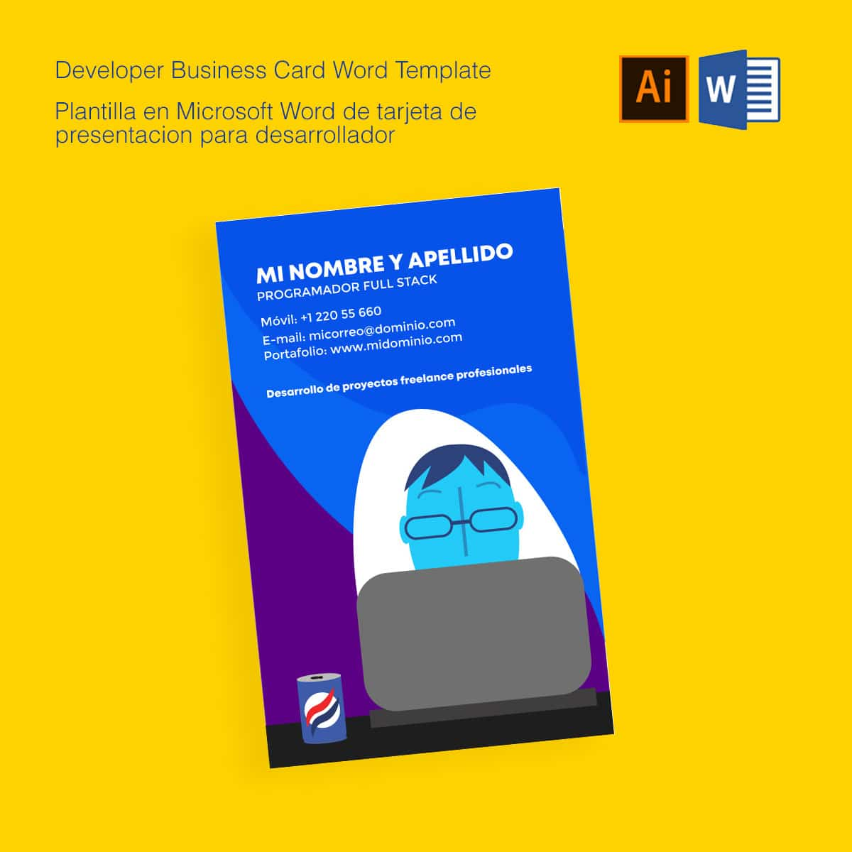 Descarga Plantilla editable Microsoft Word para Tarjeta de Presentación para informático | Download developer business card template Microsoft Word