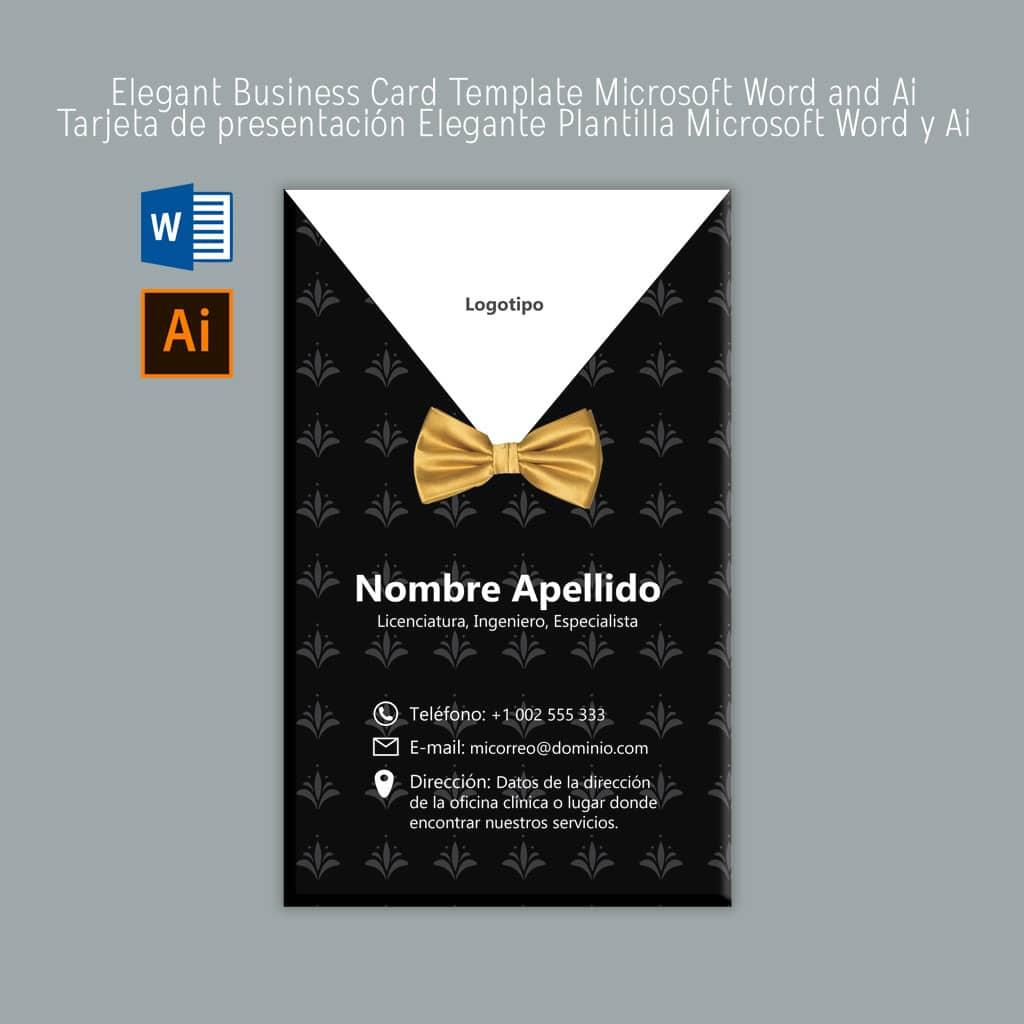 Download Elegant business card Microsoft Word Template | Descarga Elegante tarjeta de presentación plantilla Microsoft Word