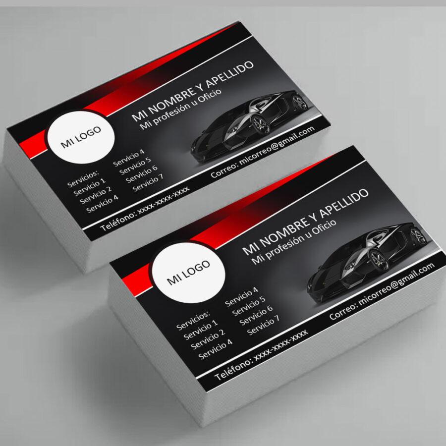 Tarjetas de presentación carros color negro en Microsoft Word para descargar